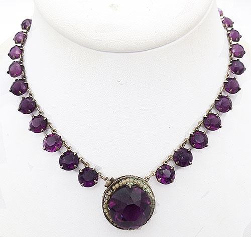 Art Deco - Art Deco Sterling Amethyst Glass Necklace