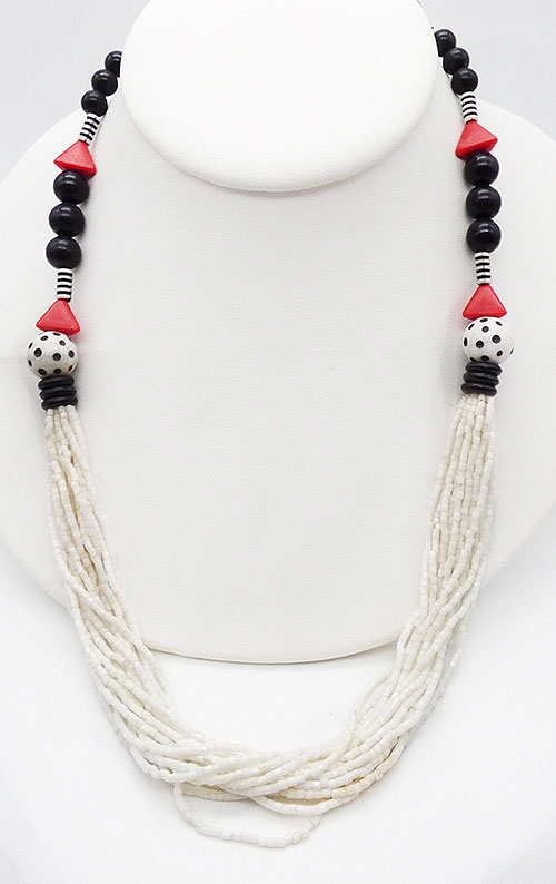 Newly Added Black and White Glass Bead Necklace