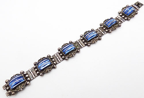 Sterling Silver - Farfan Sterling Cobalt Glass Bracelet