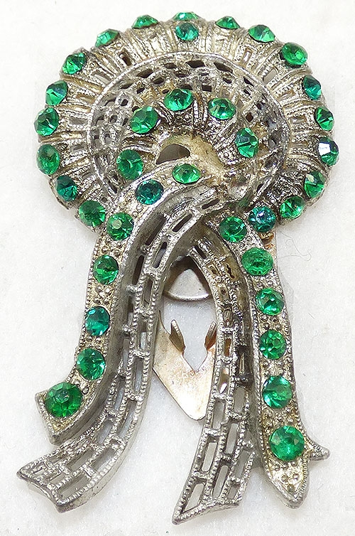 Newly Added Little Nemo Green Rhinestone Bow Dress Clip