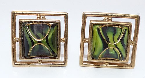 Men's Jewelry - Green and Black Art Glass Cuff Links