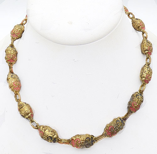 Newly Added Czech Gilded Metal Bead Necklace