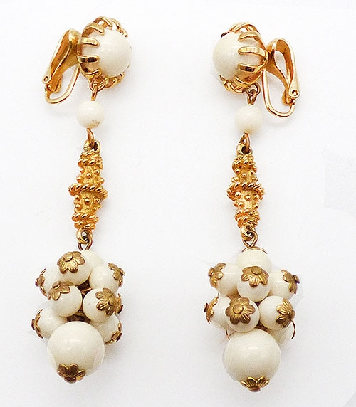 Earrings - Off-White Glass and Gold Bead Earrings
