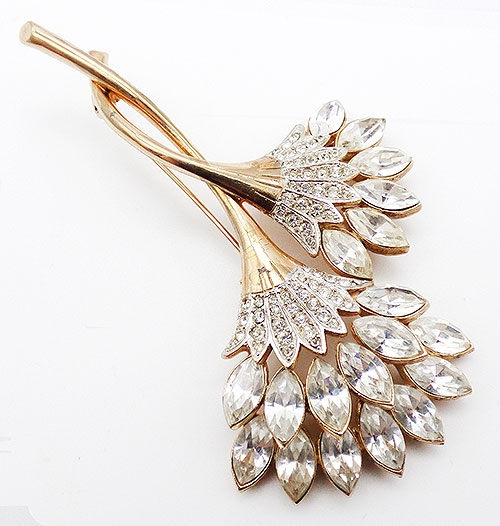 Brooches - Rhinestone Navette Double Flower Brooch