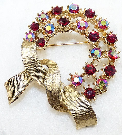Brooches - Red Aurora Rhinestone Wreath Brooch
