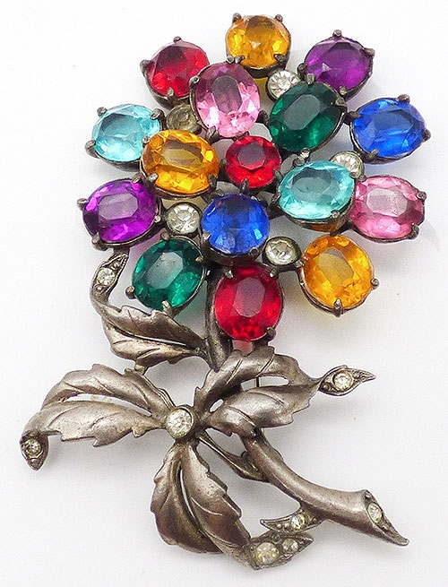 Brooches - Pot Metal Colorful Rhinestone Flower Brooch