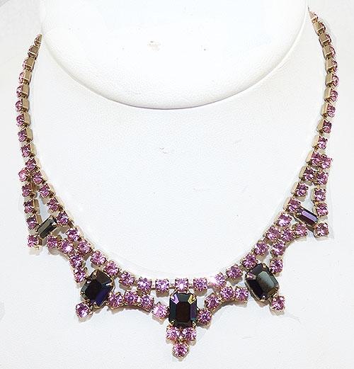 Newly Added Pink Rhinestone Amethyst Aurora Necklace