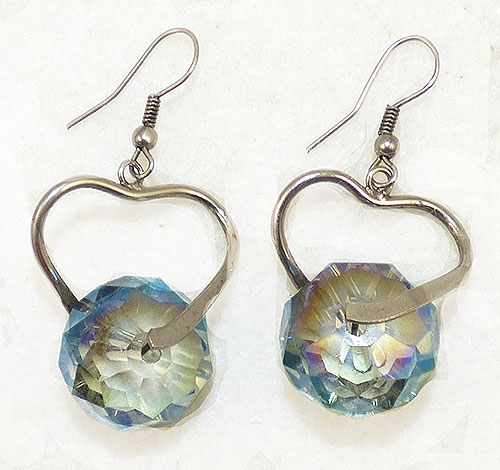 Newly Added Aurora Crystal Bead Silver Heart Earrings