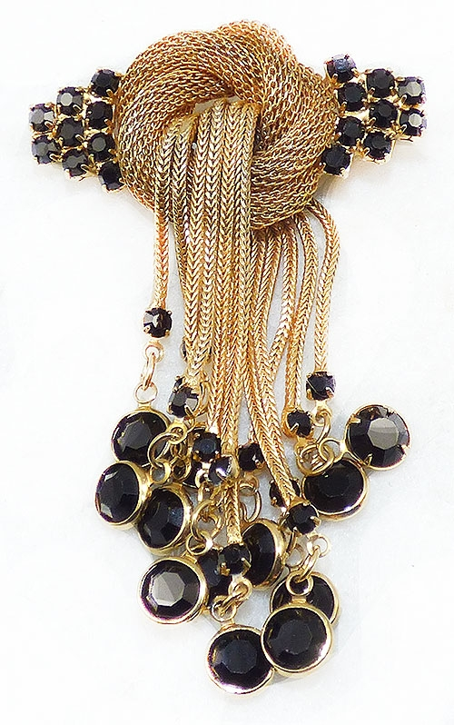 Trend 2020-2021: Circles Hoops and Tubes - Gold Mesh Knot Black Rhinestone Dangles Brooch
