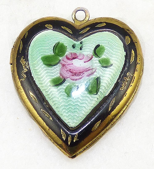 Newly Added Green Gullioche Enamel Heart Locket Pendant