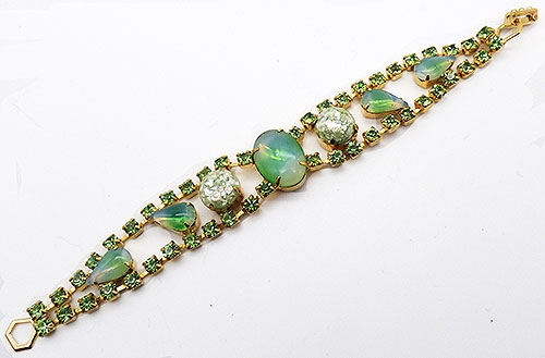 Newly Added Green Givré Glass and Confetti Stone Bracelet