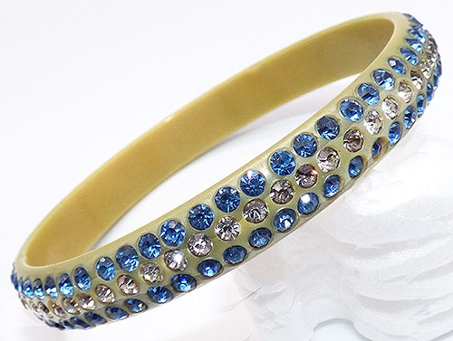 Bakelite, Celluloid, Galalith - Blue and Clear Rhinestone Celluloid Sparkle Bracelet
