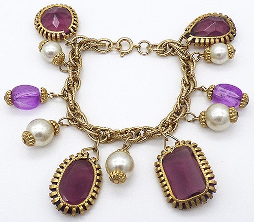 Pearl Jewelry - Amethyst Glass and Pearl Charm Bracelet