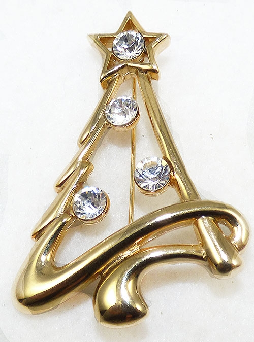 Brooches - Gold Plated Christmas Tree Brooch