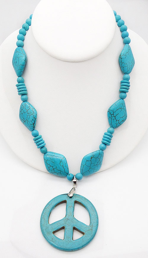 Newly Added Turquoise Howlite Peach Sign Beaded Necklace