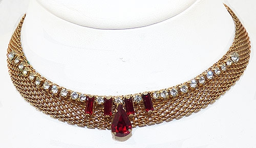 Necklaces - Gold Mesh Red Rhinestone Necklace