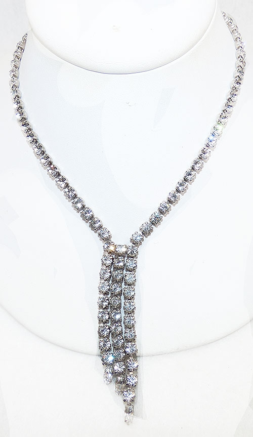 Necklaces - Clear Rhinestone Dangling Chains Necklace