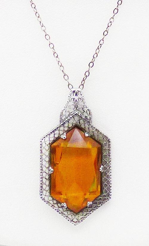 Newly Added Art Deco Filigree Topaz Glass Pendant