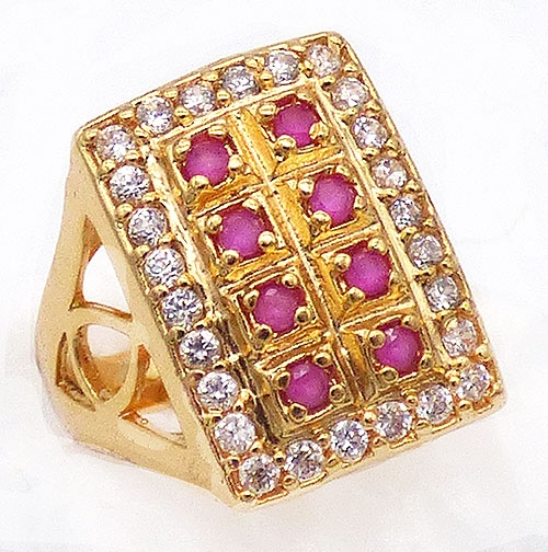 Newly Added Rectangular Ruby and Cubic Zirconia Ring