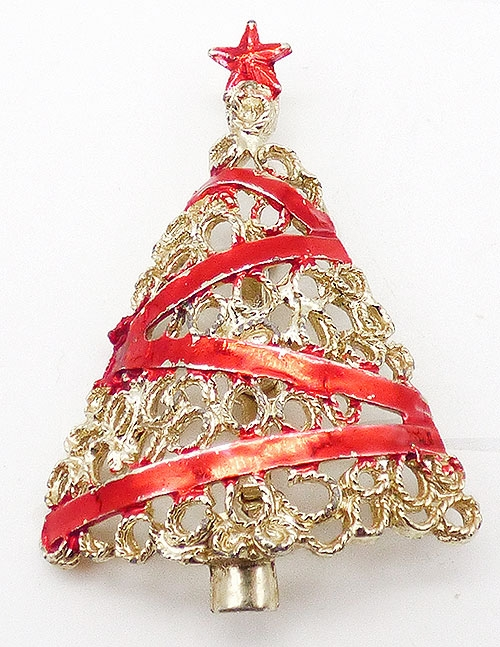 Brooches - Lacy Gold Red Ribbon Christmas Tree Brooch
