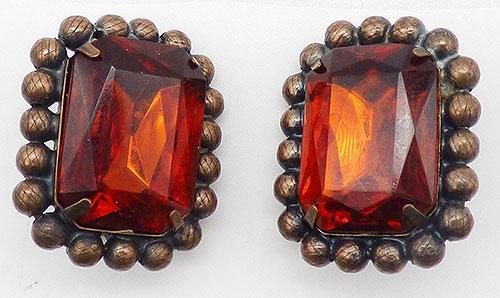 Copper Jewelry - Huge Amber Glass Copper Earrings