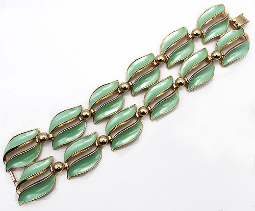 Newly Added Seafoam Green Enameled Leaves Bracelet