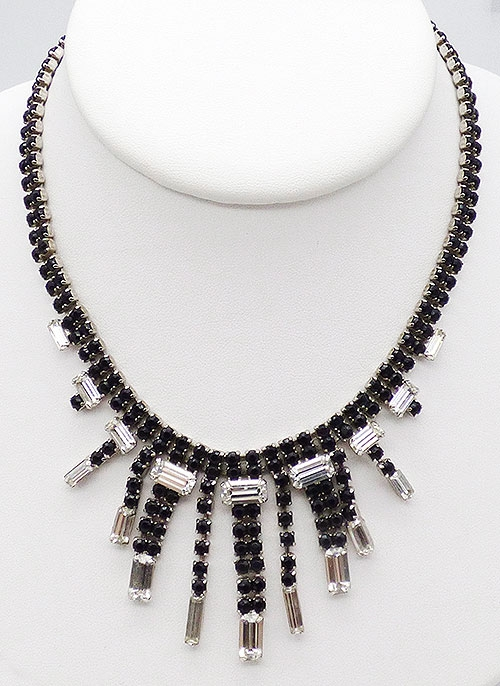 Newly Added Black Rhinestone Waterfall Necklace