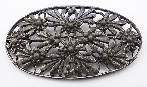 Florals - Art Nouveau Metal Flowers Sash Pin