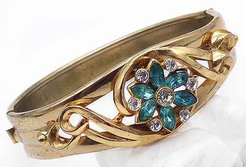 Bracelets - Gold Tone Aqua Flower Bangle Bracelet