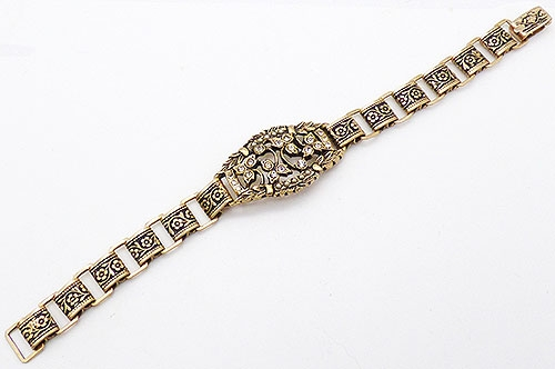 Newly Added Victorian Revival Floral Book Chain Bracelet