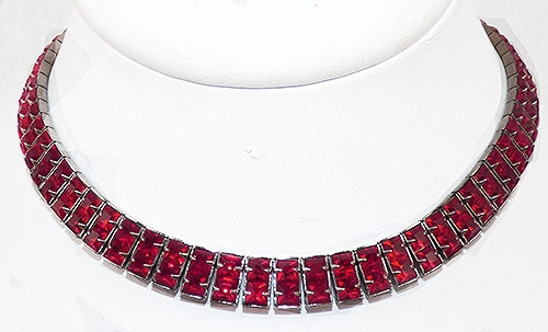 Art Deco - Art Deco Invisibly Set Red Rhinestone Necklace