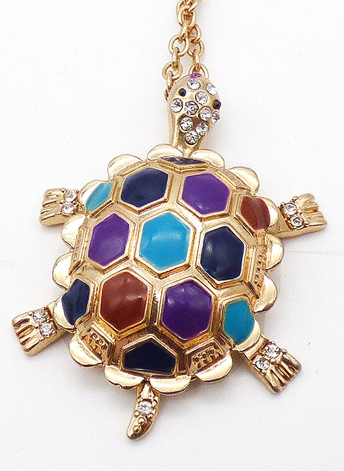 Figural Jewelry - Snakes Turtles Reptiles - Gold tone Enameled Turtle Pendant