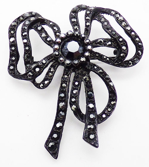 Bows & Ribbons - St. John Black Rhinestone Bow Brooch
