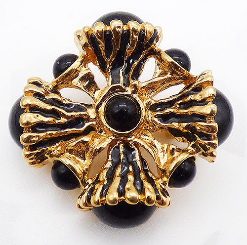 Newly Added St. John Black Maltese Cross Brooch