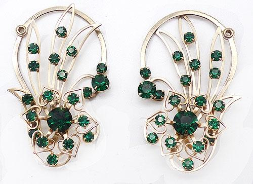 Earrings - Green Rhinestone Ear Climber Earrings