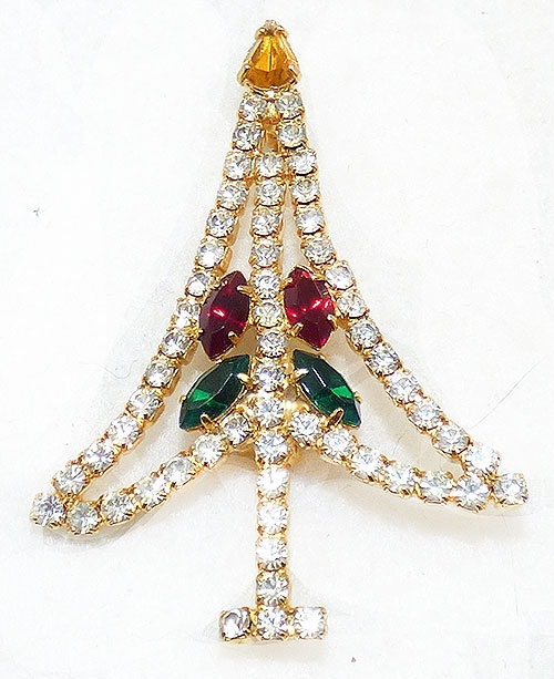 Brooches - Clear Rhinestone Christmas Tree Brooch