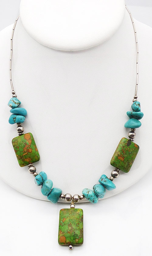 Semi-Precious Gems - Turquoise and Green Jasper Necklace