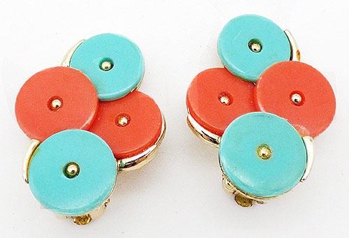 Earrings - Aqua and Coral Mid-Mod Earrings