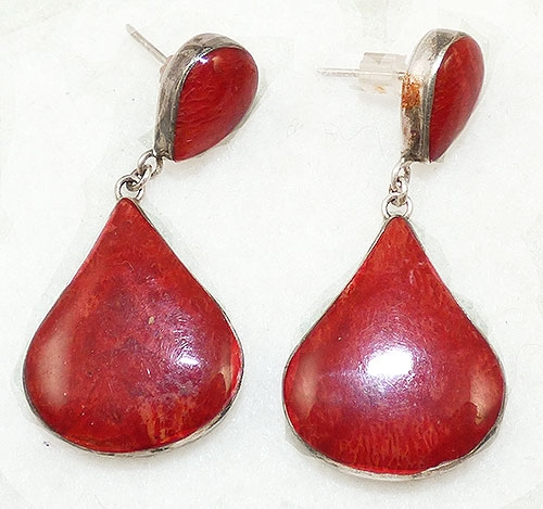 Semi-Precious Gems - Sterling Red Jasper Teardrop Earrings