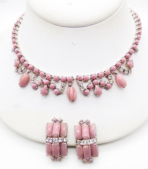 Newly Added Pink Milk Glass Necklace Set
