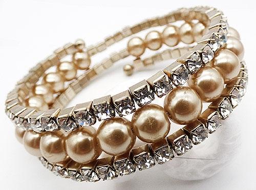 Bridal, Wedding, Special Occasion - Rhinestone Faux Pearl Wrap Bracelet