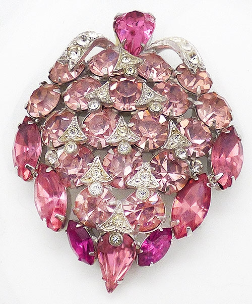 Newly Added Eisenberg Ice Pink Rhinestone Brooch