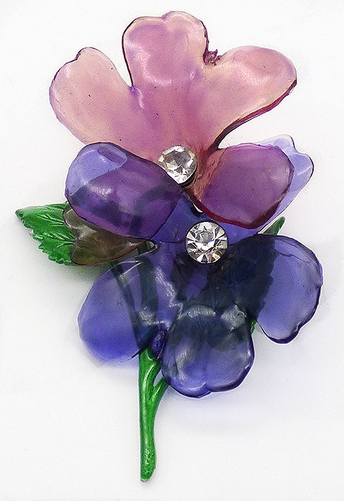 Florals - Purple Cellulose Acetate Flower Brooch