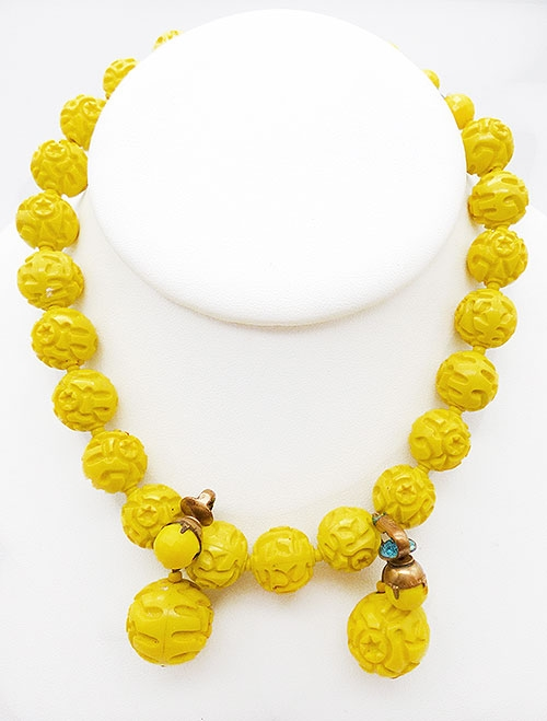 Sets & Parures - Dalsheim Yellow Bead Necklace Earrings Set
