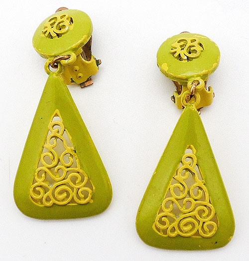 Newly Added Lime and Yellow Enamel Drop Earrings