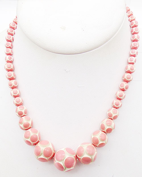 Bakelite, Celluloid, Galalith - Pink Polka Dot Galalith Bead Necklace