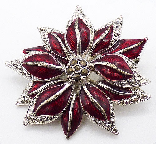 Newly Added Red Enamel Poinsettia Brooch