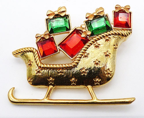 Christmas and Holidays - Liz Claiborne Sleigh with Presents Brooch