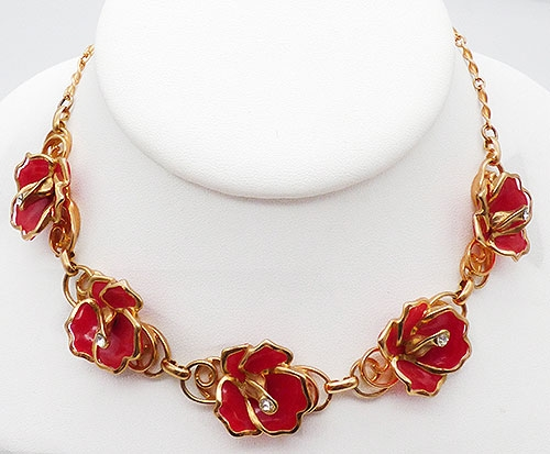 Newly Added Red Enamel Flowers Necklace