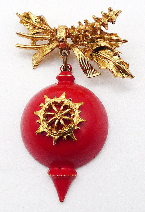 Christmas and Holidays - Art Red Enamel Ornament Brooch